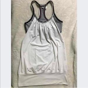 Lululemon No Limits Tank, White & Black Stripe